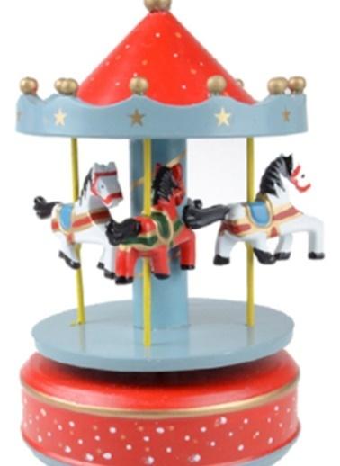 Nostaljik El Yapımı Atlıkarınca Müzik Kutusu Kırmızı  Mavi-Practika